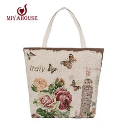 Wholesale Vintage Style European Tower - Wholesale-Floral Tower Print Handbags Women Canvas Tote European Style Female Canvas Beach Bag For Girls Shoulder Bags Large Shopping Bag