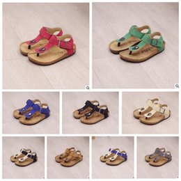 Wholesale Flip Flop Rubber Shoes - Kids Summer Cork Sandles Flip-flops Sandals Beach Antiskid Slippers Kids Shoe PU Slipper Casual Cool Slippers Sandalias 10 color KKA1627
