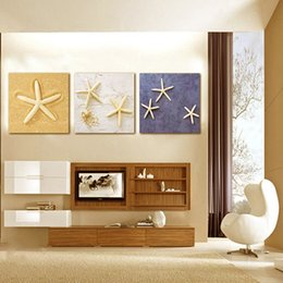 Wholesale Giclee Wall Art - Starfish Shells Canvas Wall Art Painting For Home Decor Art 3 Pieces Panel Paintings Modern Giclee Stretched And Framed Artwork