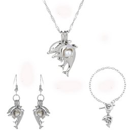 Wholesale Three Piece Wholesale Wedding Sets - Cute Dolphins Three-Piece Jewelry Sets Silver Wedding Necklace Bracelets Earrings Pearls Jewelry For Women Gift