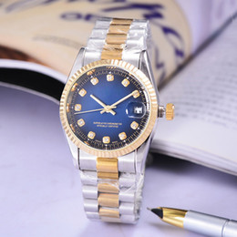 Wholesale green box price - relogio masculino luxury diamond mens watch gold dress wrist watch Blue dials mechanical watches prices Cheap box Male clock stainless steel