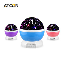 Wholesale baby projector lamps - Wholesale- Dream Rotating Projection lamp Romantic LED Night light Sky Moon Star Master Projector USB 5V Decor Kids Baby Sleep lighting
