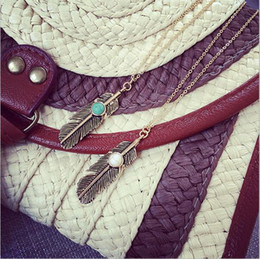 Wholesale Cheap Rope Necklaces - Wholesale- x52 Cheap Costume Jewelry Gold Color Leaf Design Pendant Necklaces & Pendants 2015 New For Women
