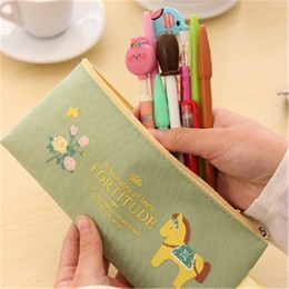 Wholesale Horse Stationery - Wholesale-Cute Kawaii Cloth Zipper Pencil Case Lovely Cartoon Horse Pencil Bag For Kids Gift Korean Stationery W2.15