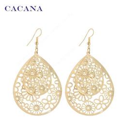 Wholesale Bijouterie Earrings - CACANA Gold Plated Dangle Long Earrings For Women Big Hollow Patten Water Drop Bijouterie Hot Sale No.A205 A206