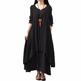 da66f7f4af7 Women dress 2017 Autumn Women Casual Loose Long Sleeve Dress Cotton Linen  Solid Long Maxi Dress Vestidos Plus Size S-5XL