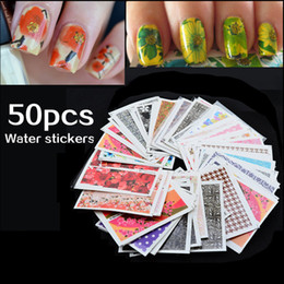 Wholesale Designs Nail Art Wraps Sticker - Mix 50pcs set Nail Art Water Transfer Flower Design Nail Sticker Watermark Decals DIY Beauty Nail Tips Decoration Wraps Tools