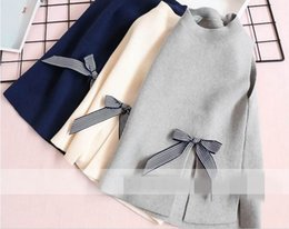 Wholesale Baby Knitting Vests - 2017 Autumn New Baby Girl Knitting sweater fashion hem Open fork bowknot sweater vest Children Clothes 2-7T 317576