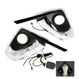 Wholesale Turn Signal Lights Toyota - 2Pcs Set Car Styling DRL Daytime Running Light Auto Accessories with Yellow Turn Signal Function For Toyota Fortuner 2015 2016