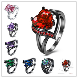 Wholesale Wholesale Titanium Black Diamond Rings - 2017 New Mixed Size Mixed Styles Eternal Love Noble Jewelry Engagement Wedding Rings Heart Bright Crystal Rings Vintage Diamond rings