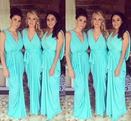 Wholesale Teal Trumpet Dress - 2017 Bridesmaid Dresses V Neck Teal Turquoise Chiffon Open Back Party Dress Long Plus Size Formal Maid of Honor Gown Wedding Guest Dress