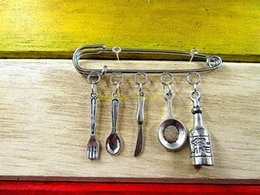 Wholesale Kilt Wholesale - Wholesale- Hot sale brooch Hannibal wine ,pan ,nife ,spoon,fork, cooking kilt pin brooch