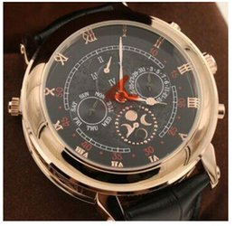 Wholesale Strap Duo - New arrived Automatic movement High quality sapphire glass Duo dial leather strap wristwatch Sky Moon Tourbillon PPi 5002P