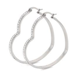 Wholesale Basketball Wives Fashion Jewelry - Wholesale- Big Hearts Hoop Earrings CZ Rhinestone Stainless Steel Basketball Wives Jewelry Fashion Jewellery Gift For Women