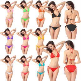 Wholesale Womens Bathing Suits Wholesale - 2017 Sexy Womens Bikini Set Bra Swimsuit Bathing Suit Swimwear Hanging Neck Design Perfect Bikini Swimsuit DM005