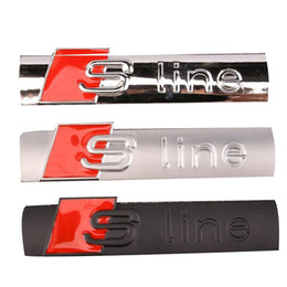 Wholesale Sline S Line Badge - 3D Metal Sline S line Fender Emblem Decal Sticker Badge Car Styling For Audi A1 A3 A4 A5 A6 A7 A8 Q3 Q5 Q7 S3 S4 S5 S6 S7 S8 TT