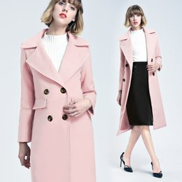 Wholesale Lady Long Sleeves Office Coat - Autumn Winter Women Long Wool Coats 2018 Fashion New Trench Lady Outwear Office Double Breasted Cashmere Clothing FS3153