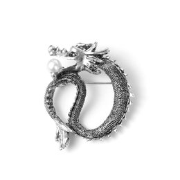 Wholesale Dragon Brooch Vintage - Wholesale- Unique Simulated Pearl Brooches Vintage Jewelry Silver Plated Metal Chinese Dragon Pins And Brooch For Women