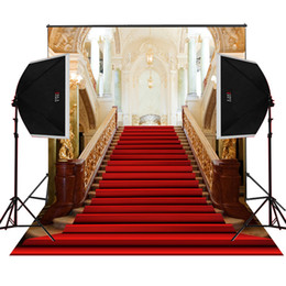 Wholesale red carpet backdrops - red carpet luxury building for wedding photo background camera fotographical digital cloth vinyl props studio photography backdrops
