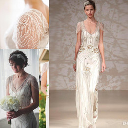 Wholesale Gatsby Wedding Dresses - Vintage Great Gatsby Country Crystal Wedding Dresses 2017 Jenny Packham Sparkly Cap Sleeve Full length Garden A-line Wedding Gowns
