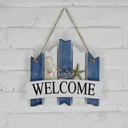 Wholesale Wood Craft Anchor - GS03 INS wooden welcome board businese listing board door hanging Mediterranean handmade Wood Craft shop coffice open Decor Anchor Nautical