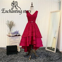 Wholesale Hi Lo Backless Dress - Hi-Lo Red Satin Prom Dresses Tiered Slirts 2017 Deep V-Neck Lace Appliques Party Dress Backless Lace-Up Real Photos Women Evening Gown Cheap
