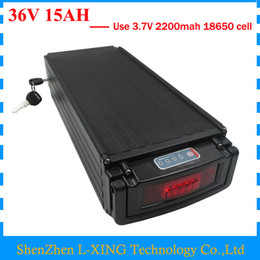 Wholesale used tail lights - Electric Bike battery 36V 15AH 500W 36 V 15AH lithium battery pack with tail light use 2200mah 18650 cell 15A BMS 42V 2A Charger