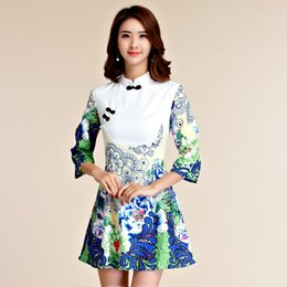 Wholesale Slimming Elegant Clothes - Green color M-3XL Plus size women clothes elegant print slim short dress chinese traditional party cheongsam three quarter sleeve