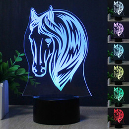 Wholesale Led Horse Night Light - 2017 NEW Horse Head 3D LED Table Lamp Colorful 7 Color Change Acrylic Night Light Decoration Lamp Gifts