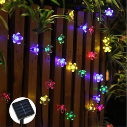 decor flower lights Coupons - Wholesale-50 LEDs 7M Peach Sakura Flower Solar Lamp Power LED String Fairy Lights Solar Garlands Garden Christmas Decor For Outdoor