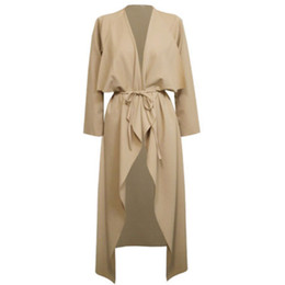 Wholesale Women Duster Coat - Wholesale- Plus Size S-3XL Womens Ladies Casual Long Sleeve Slim Fit Waterfall Long Belted Cardigan Duster Coat Jacket Overalls Outwear