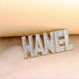 Wholesale Golden Anniversary - Good Quality Gold Plated Full Golden Crystal Letter C Luxury Brooches Pins For Girls Gift Jewelry Women Accessories Pouch packing