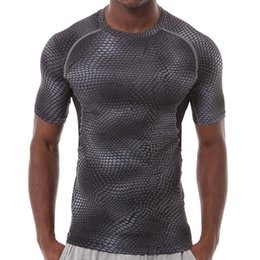Wholesale Snakeskin Sleeve - NEW 2017 outdoor Men pro fitness tights elastic quick-drying short sleeve T-shirt Snakeskin grain printing sweats running compression tshirt