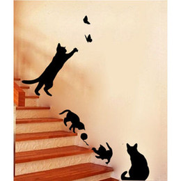Wholesale Home Decoration Bathroom - Wholesale- 1pcs Cute Cat switch stickers wall stickers home decoration Room Window Wall Decorating Vinyl Decal Sticker Decor Cartoon 2018