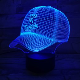 Wholesale Kc Led - Wholesale- Baseball cap 3D Desk Lamp KC Royals Night Light Acrylic Flat Household Lights Color Changeable Veilleuses LED Lampara Infantil