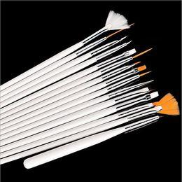Wholesale Dot Liners - 1000 sets 15Pcs set Nail Art DIY Acrylic Pen Painting UV Gel Polish Brushes Drawing Dotting Brush Liners Tool Set White Pink