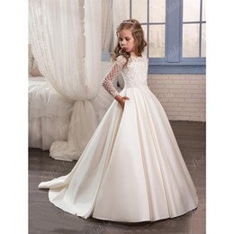 Wholesale Purple Satin Ribbon - 2017 New Dresses for Little Girls Pentelei Cheap with Long Sleeves and Pockets Appliques Satin Ivory Party Flower Girl Dresses