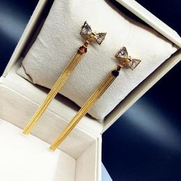 Wholesale Gold Layer Earrings - Fashion new arrival double layer bowknot long alloy tassel women drop earrings cute women statement dangle earrings