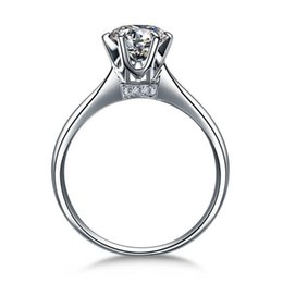 Wholesale Diamond Accent Rings - Hearts and Arrows 6 prong setting 1 Ct NSCD Simulated Diamond Engagement Wedding rings for women,Solitaire Ring with accents