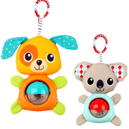 Wholesale Baby Koalas - Wholesale- baby animal rattles toy Koala puppy bed   carriages hanging plush toys cartoon baby Infant Rattles kids grasping Toys TO208