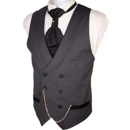 Casaco de casamento colete cinza on-line-Atacado-Custom Made Homens Cinza Escuro Terno Coletes Slim Fit Formal Colete Para Homem Casamento Prom Vest trespassado
