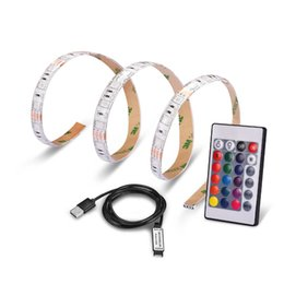Wholesale 12v Usb Power Supply - SMD5050 RGB LED Strip Light USB Power Supply Waterproof Flexible Ribbon DC5V TV Background Lighting DIY Decorative Lamp