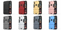 Wholesale Cover Iphone Iron Man - Iron man Kickstand Armor Case For Iphone 8 Iphone8 I8 8g 8th Hybrid Shockproof Hard Plastic+TPU Ironman Skin Holder Defender Back Cover