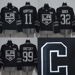 Wholesale Nylon King - 2017 Centennial Classic Los Angeles Kings Hockey Jersey #11 Anze Kopitar #32 Jonathan Quick #99 Wayne Gretzky 100 Anniversary Patch Jerseys
