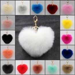 Wholesale Cellphones Chain - Hear Shape Artificial Rabbit Fur Keychain Ball Pom Fluffy Fur Ball Key Chain For Womens Bag Or Cellphone Car Pendant 21 Color C133L