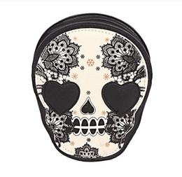 Wholesale Cat Head Style - Street Style Skull Floral Heart Cat Crossbody Bag Black Zipper Head Mini Dual Purposes Shoulder Messenger Bag for Women 1PCS drop ship
