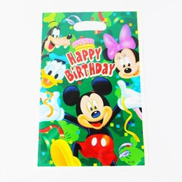 Wholesale Baby Girl Birthday Party Decorations - Wholesale- Mickey Mouse Kid Boy Girl Baby Happy Birthday Party Decoration Kits Supplies Favors Loot Bag Gift Bag 12pcs lot