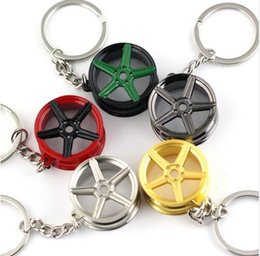 Wholesale Rims Keychain - 10pcs lot wheel hub keychain key ring wheel rim key chain key holder high quality car portachiavi chaveiro llaveros hombre