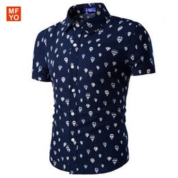 Wholesale Balloon Shorts - Wholesale- Fashion Men hawaiian shirt Short Sleeve Slim Fit Shirt Men hot air balloon printed beach Designer Shirts camisa social masculina