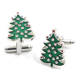 Wholesale christmas tree unique - Freeshipping Wholesale 20PCS Hansel Green Christmas Trees Crystal Cufflinks Charm Trend Fashion Cufflinks For Unique Men Jewelry